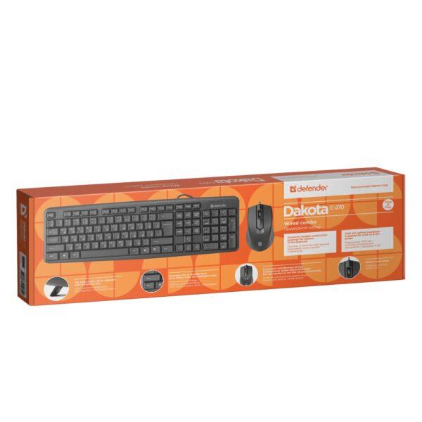 комплект клавиатура и мышь defender dakota c-270 4