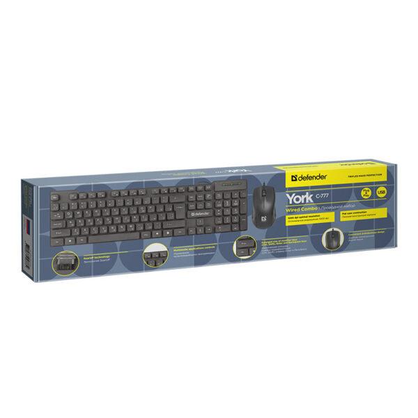 комплект клавиатура и мышь defender york c-777 2